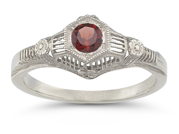 Vintage Floral Ruby Ring in 14K White Gold