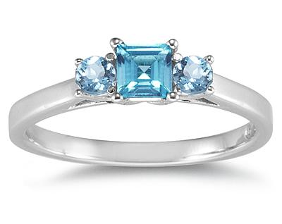 Three Stone Blue Topaz Ring, 14K White Gold