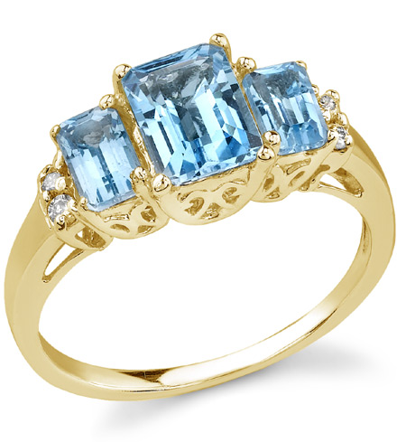 Emerald-Shaped Three-Stone Cathedral Blue Topaz Ring in 14K Yellow Gold