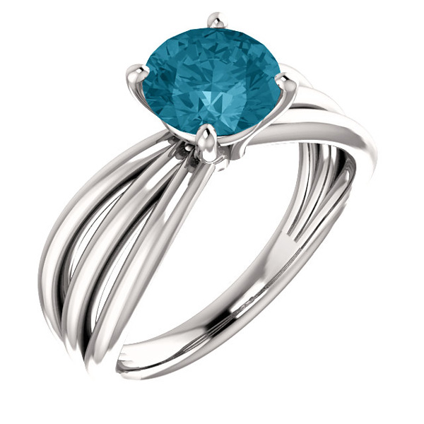 London Blue Topaz Trinity Band Ring, 14K White Gold