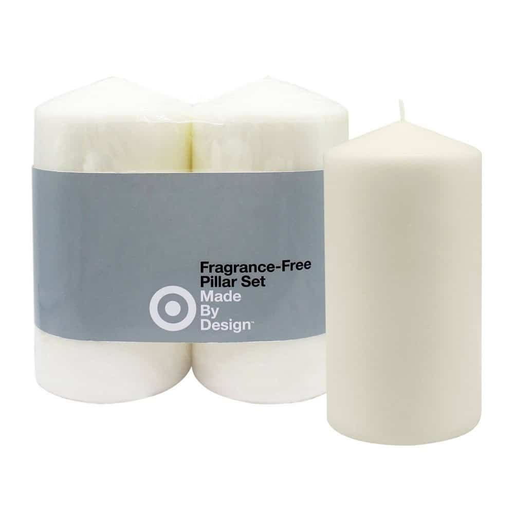 "6"" x 3"" 2pk Unscented Pillar Candles Cream (Ivory) - Made By Design"