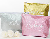 Custom Name Glitter Cosmetic Bag, Bridesmaid Gift Personalized Glitter Makeup Case, Wedding Gift Bridal Gift, Gold Bag Silver Toiletry Pouch