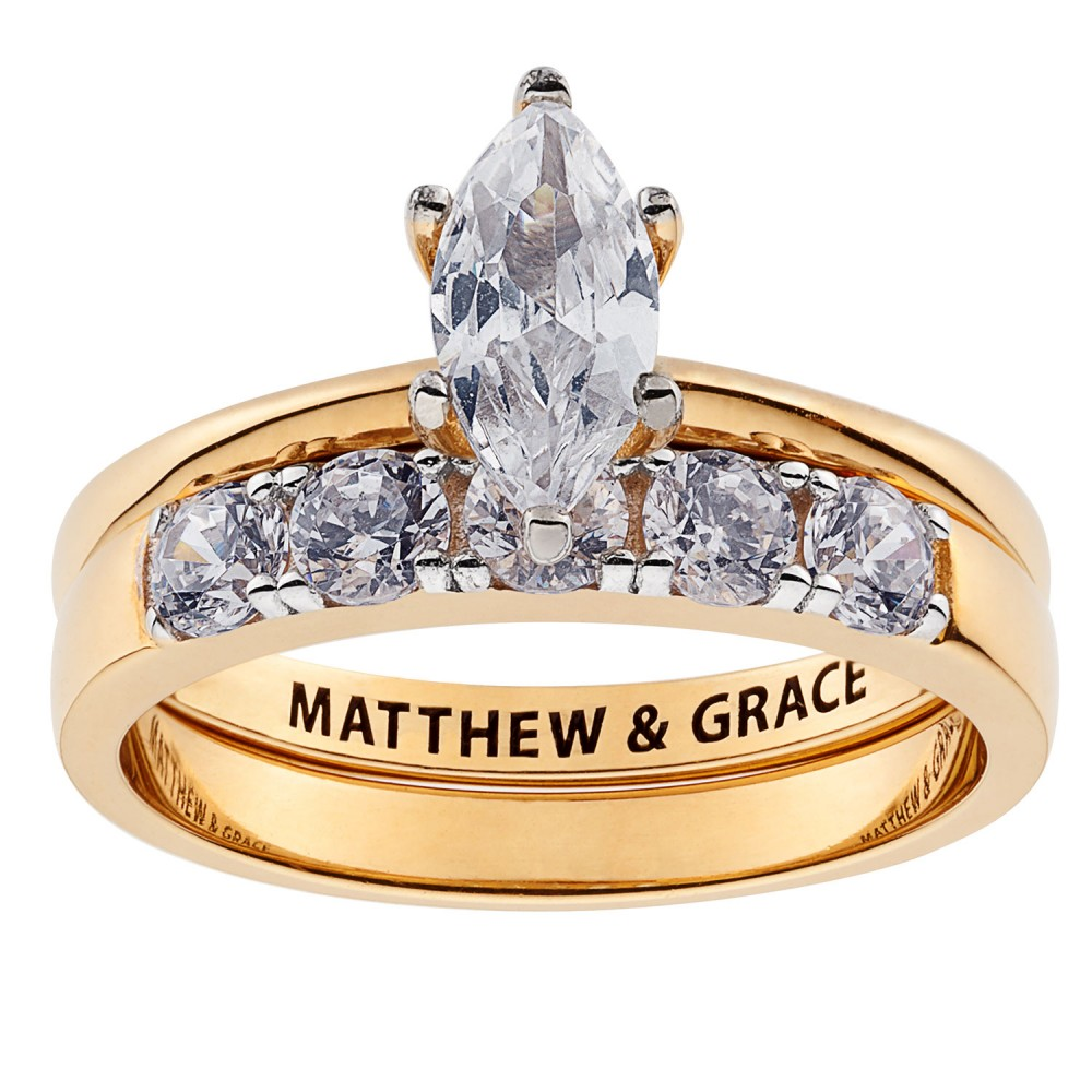 Gold over Sterling Marquise CZ 2 Piece Engraved Wedding Set