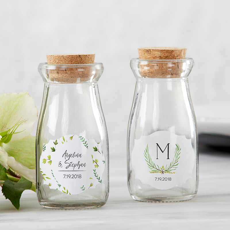 Personalized Botanical Garden Vintage Milk Bottle Favor Jar (Set of 12)