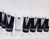 Wedding Shot Glasses Wedding Favors Personalized Shot Glasses Take a Shot Bachelor Party Custom Shot Glasses Groomsmen Proposal