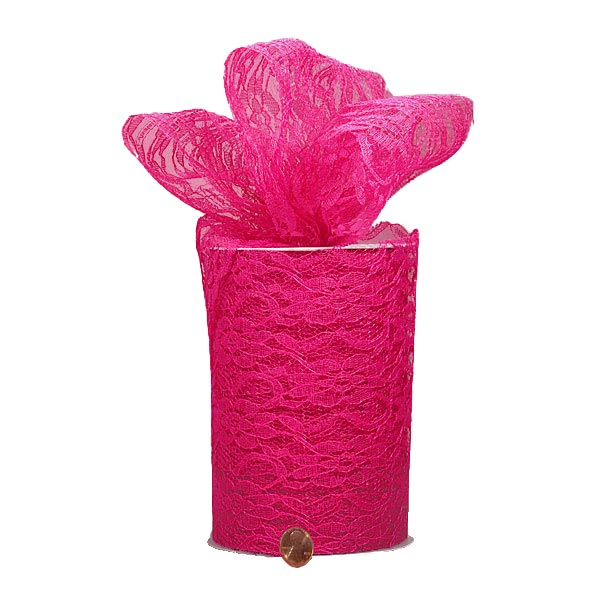 "Hot Pink Lace yd - 6"" X 25 - Fabric - Width: 6"" by Paper Mart"