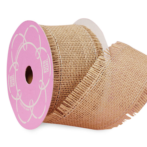 """Natural Fine Burlap Ribbon - 2-1/2"""" X 10 Yards - by Paper Mart"""