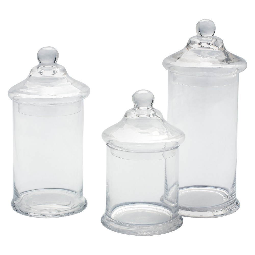 Decorative Glass Jar Set of 3 - Diamond Star, Clear