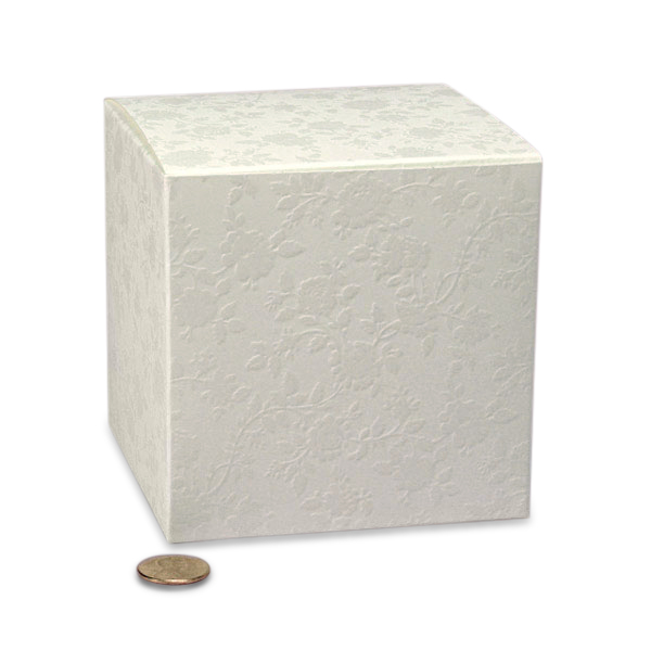"""Lace Wedding Favor Boxes Cardboard - Quantity: 20 Width: 4"""" Height/Depth: 6 1/4"""" Length: 4"""" by Paper Mart"""