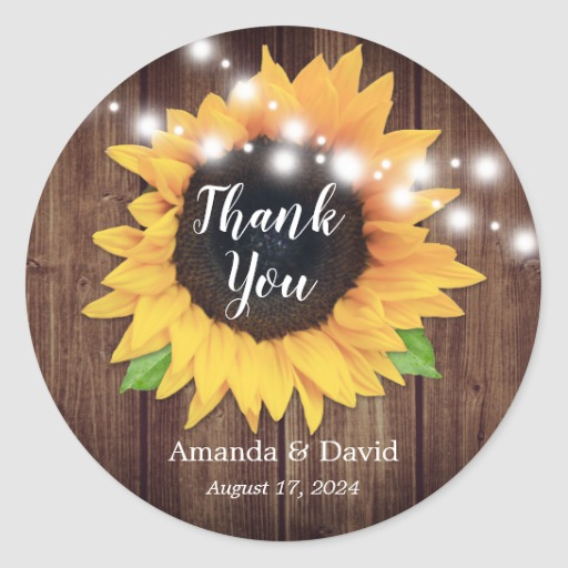 Rustic Country Sunflower Wedding Favor Stickers