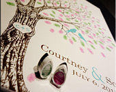 Thumb Print Wedding Tree Guest Book Alternative Print Fingerprint Wedding Tree with Love Birds Unique Guest Book Ideas Custom Guest Book L