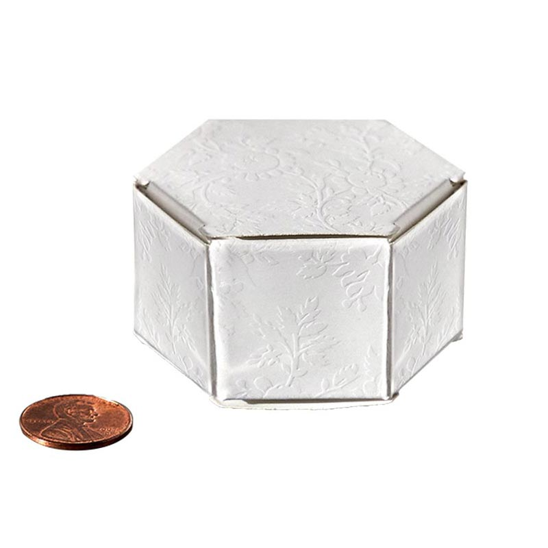 "Lace Hexagon Favor Boxes Cardboard - Quantity: 20 Width: 1 1/4"" Height/Depth: 1 1/4"" Length: 2 1/4"" by Paper Mart"
