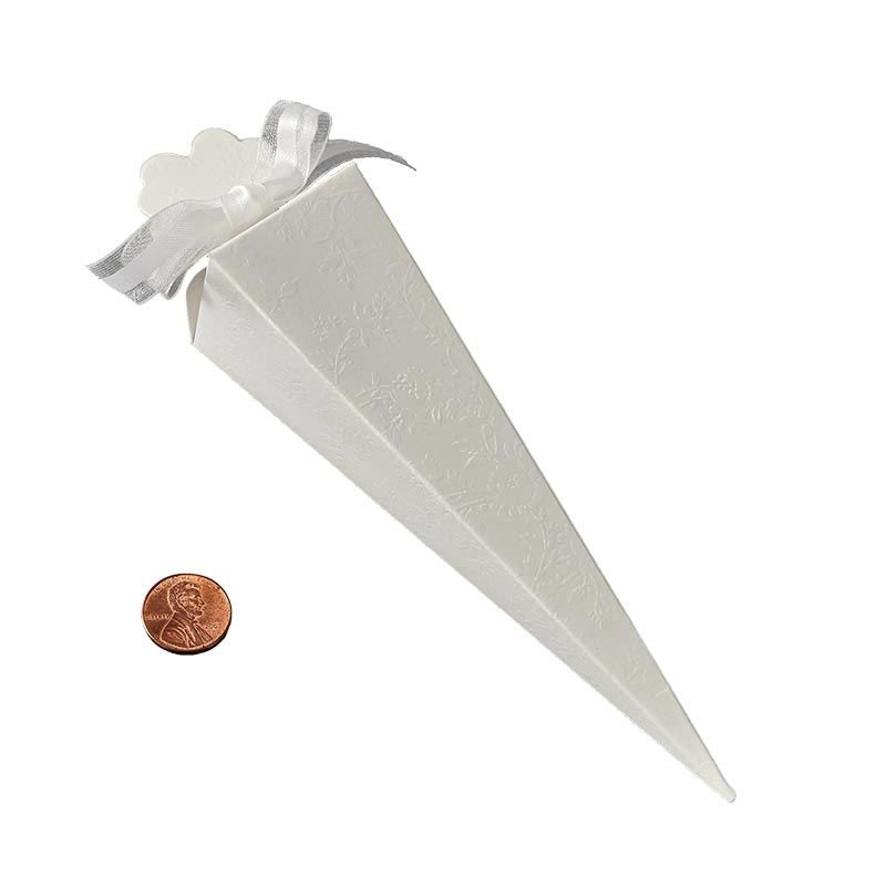 "Cardboard Lace Cone Favor Boxes - Quantity: 20 Width: 1 1/2"" Length: 6"" by Paper Mart"