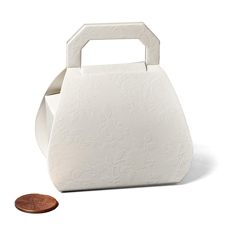 "Lace Purse Favor Boxes Cardboard - Quantity: 20 - Size: Small Width: 1 5/16"" Height/Depth: 1 1/4"" Length: 2 1/8"" by Paper Mart"