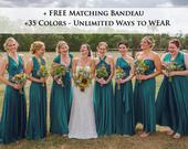 Teal green Wrap dress convertible bridesmaid dresses, infinity dress, sororities dress, infinity dress, prom dress, Ball gown