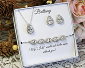 Personalized Bridesmaid gift set Bridal necklace earrings bracelet Rose gold silver Zirconia Teardrop Earrings necklace Wedding Mother Gift