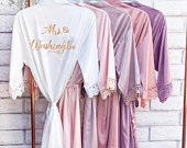 Bridesmaid Robes Bridesmaid Gifts Bridal Party Robes Wedding Robes Bride Robe Bridesmaid Robe Lace Robe ( CRUSH IN LOVE )