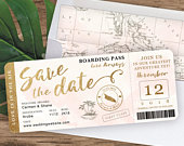 Destination Wedding Boarding Pass Save the Date Invitation in Gold and Blush Watercolor by Luckyladypaper see item details to order