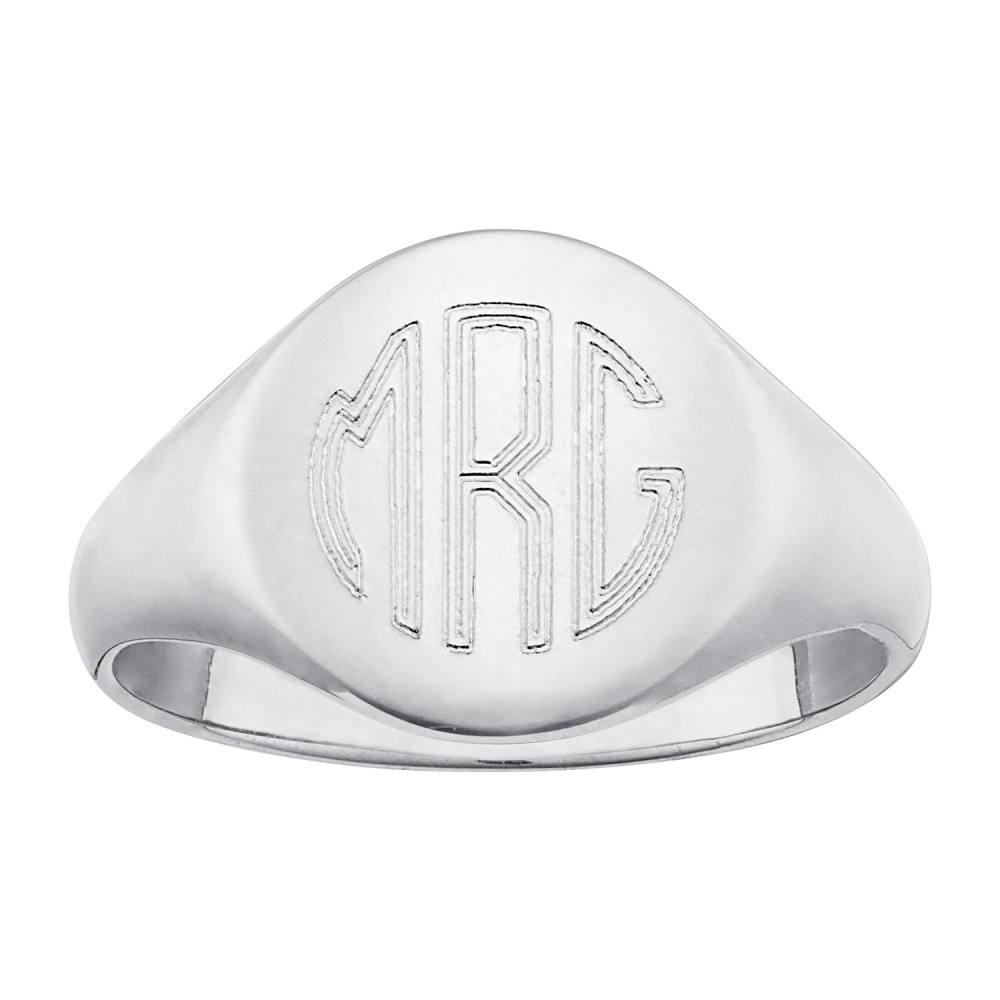 Men's Sterling Silver Petite Round Monogram Signet Ring