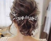 SALE Crystal and Pearl hair vine Extra Long Hair Vine Bridal Hair Vine Wedding Hair Vine Crystal Hair Piece Bridal Jewelry Hair Vine Pearl