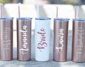 Bridesmaid Cups Personalized Tumbler with Straw Maid of Honor Gift Bridesmaid Tumbler Bridesmaid Gift Tumbler Rose Gold Cup Straw