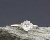 White sapphire ring, White sapphire and Diamond ring, engagement ring, unique ring, unique engagement, White sapphire engagement ring
