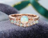 Opal engagement ring set vintage engagement ring rose gold Cluster Diamond Promise Curved Opal wedding Bridal Anniversary gift for women