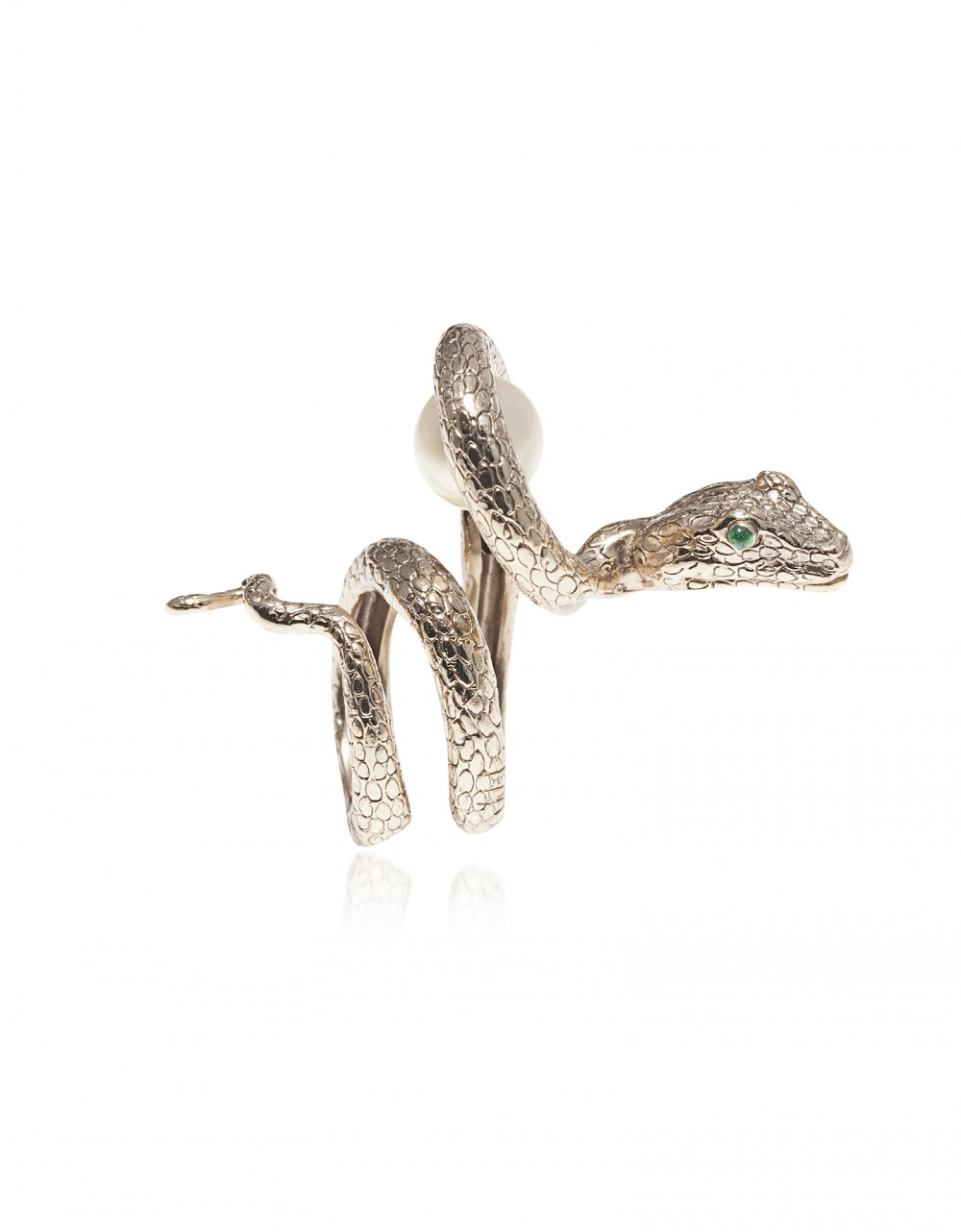 Bernard Delettrez Rings Arched Snake Bronze Ring w/ Pearl