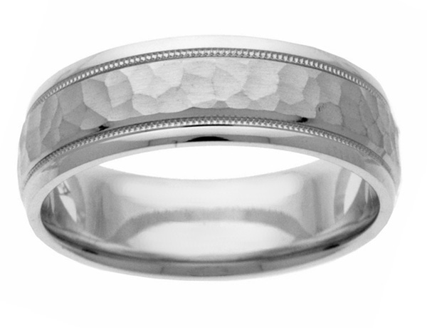 Handcrafted Hammered Wedding Band in White Gold