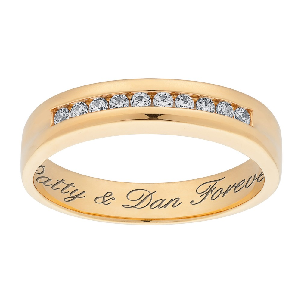 18K Gold over Sterling Engraved CZ Wedding Band