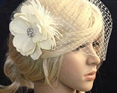 Birdcage veil Blusher and Bridal Fascinator Vintage inspired Russian netting veil hair flower feather Emily