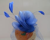 1980s Bright Blue Fascinator Hat with Veil Royal Blue Birdcage Hat with Feather Plumes Womens Fashions Millinery Mini Hat Costume