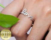 Sterling Silver LOVE Ring in .925 Stamped SS and Tarnish Free