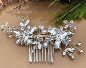 Bridal hair comb silver,bridal hair piece, pearl hair comb,wedding hair comb, crystal hair comb, bridal headpiece, bridal hair accessories