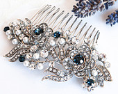 Victorian Style Bridal Hair Accessories, BLUE Swarovski Crystal Wedding Hair Comb, Pearl and Rhinestone Rose Flower Hair Accessories, ROSIE