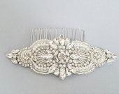 Wedding Hair comb, Bridal Hair Accessories, Silver Clear Crystal Pearl Hair comb, Bridal Head Piece, Wedding Accessories