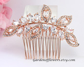 Rose gold Bridal hair piece Bridal rhinestone comb Swarovski Pearl Wedding hair accessories Bridal hairpiece headpiece Bridesmaids comb