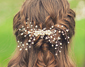 Wedding hair accessories Bridal comb Clip Gold pearl comb Bridal hair piece Bridesmaids comb headpiece prom girl Swarovski Pearl Rhinestone