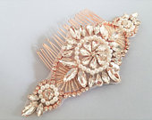 Wedding Hair comb, Bridal Hair Accessories, RoseGold Clear Crystal Pearl Hair comb, Bridal Head Piece, Wedding Accessories