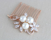 Rose gold hair comb Bridal hair comb Swarovski Wedding headpiece Bridal hair accessory Pearl hair comb Rose Gold Crystal clip MIA