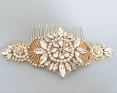 Wedding Hair comb, Bridal Hair Accessories, Gold Clear Crystal Pearl Hair comb, Bridal Head Piece, Wedding Accessories