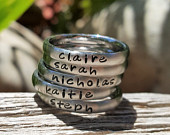 Custom Handstamped Name Rings, Personalized Stacking Ring, Mom Jewelry, Name Ring for Mom, Handstamped Initial Ring, Brushed Matte Ring