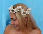 Boho Bridal Crown, Halo, Vintage Crown, Wreath, Tiara W/ Pearls Acrylic Flowers, Iridescent Beads, Silk Flowers, On A Osculating Wire