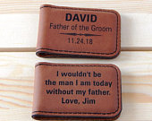 Personalized Father of the Groom Gift from Son Wedding Gifts for Dad Leather Money Clip