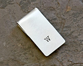 Money Clip Graduation Personalized with Simple Hand Stamped Initial in Sterling Silver solid 925 MC112