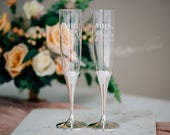 Vera Wang Infinity Personalized Wedding Toasting Flutes (Set of TWO) Custom Engraved Champagne Glass, Wedding Glasses, Engagement Gift