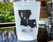 State Initials Cups, Custom State Cups, State Pride Cups, Shatterproof Plastic Cups, Plastic Party Cups, Engagement Party Cups, Wedding Cups