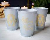 Silver Shatterproof Cups, Monogrammed Wedding Cups, Custom Plastic Cups, Personalized Cups, Engagement Party Cups, Printed Metallic Cups