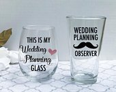 Wedding Planning glasses, Bride Gift, Bridal Shower Gift Set Idea, Engagement Gift for Couple, Future Mrs Wine Glass Cup, Newly Engaged