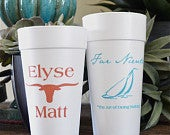 Personalized Styrofoam Cups, Customizable Foam Cups, Engagement Party Cups, Wedding Cups, Wedding Favors, Beach House Cups set of 500